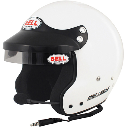 Bell Mag 1 Rally Open Face Helmet White with HANS Posts