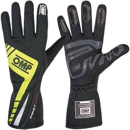 OMP First Evo Race Gloves Black/Fluro Yellow
