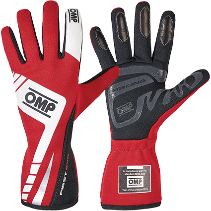 OMP First Evo Race Gloves Red/White