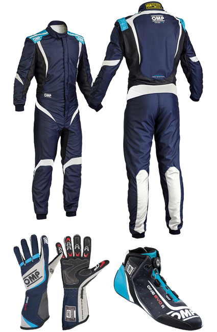 OMP One S1 Navy/Cyan Racewear Package