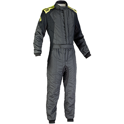 OMP First Evo Race Suit Anthracite/Yellow