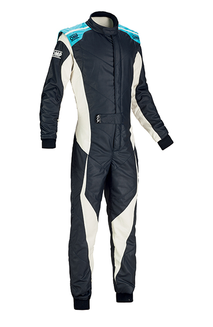 OMP Tecnica Evo Race Suit Navy Blue/White/Cyan