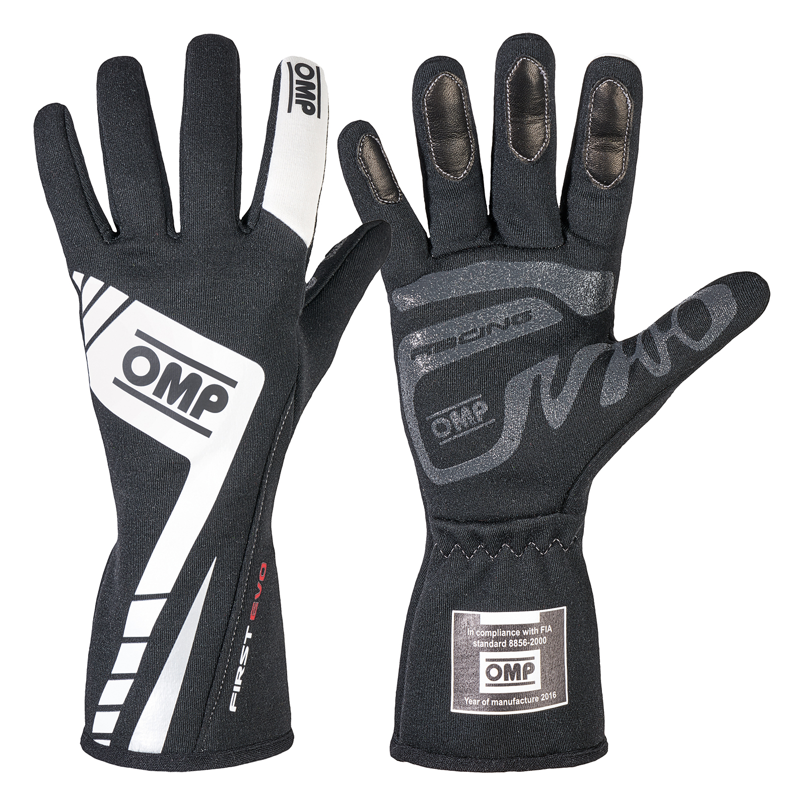 Driving gloves racing - Omp First Evo Race Gloves Black White