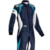 OMP One Evo Race Suit Navy Blue/White/Cyan