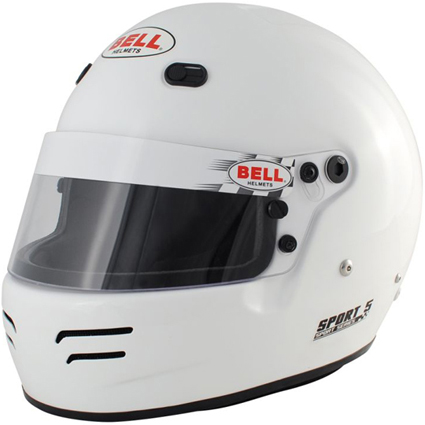 Bell Sport 5 Full Face Helmet White with HANS Posts