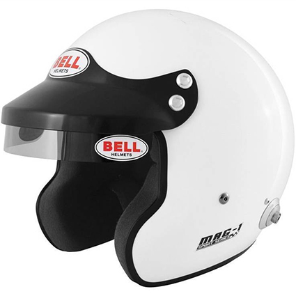 Bell Mag 1 Open Face Helmet White with HANS Posts