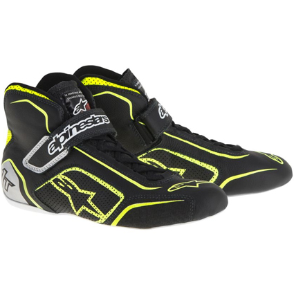 Alpinestars Tech 1-T Race Boots Black/Fluro Yellow/Silver