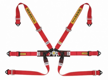 Sabelt  6 Point Single Seater Harness in Red 2'' x 2'' Bolt In