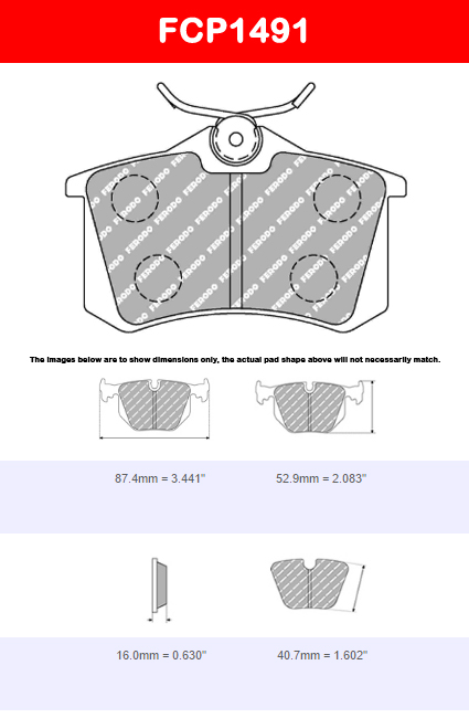 Ferodo FCP1491H DS2500 Brake Pads