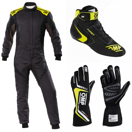 OMP First Evo my2020 Anthracite/Yellow Racewear Package