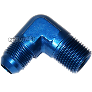 Aeroquip 90˚ Forged JIC to NPTF Aluminium Adaptor Blue