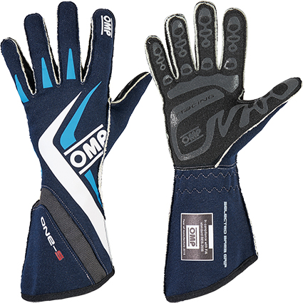 OMP One-S Race Gloves Dark Blue White/Cyan