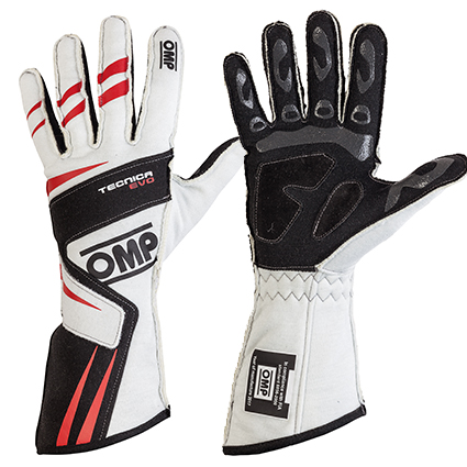 OMP Tecnica Evo Race Gloves White/Red/Black