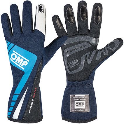 OMP First Evo Race Gloves Dark Blue Cyan/White