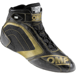 OMP One Evo Formula Race Boots Black/Gold Size 44 EUR/9.5 UK