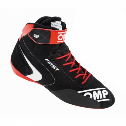 OMP First my2020 Race Shoes Black/Red Sole and Strap Suede