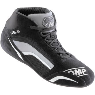OMP KS-3 Kart Boots Black/White/Grey Size 46 EUR/11 UK