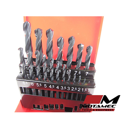 Motamec 19 Piece HSS Drill Bits Set 1-10mm High Quality DIN338 Metal Case Kit
