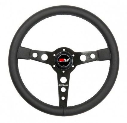 Motamec Classic Steering Wheel 350mm Black Leather Black Spoke