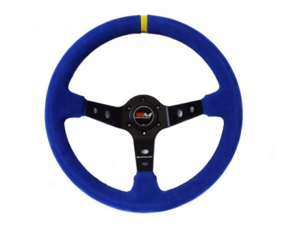 Motamec Rally Steering Wheel Deep Dish 350mm Blue Suede