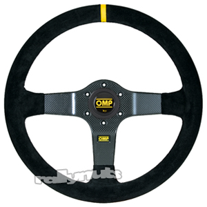 OMP 350 Carbon Steering Wheel Black Suede