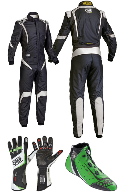 OMP One S1 Black/Green Racewear Package