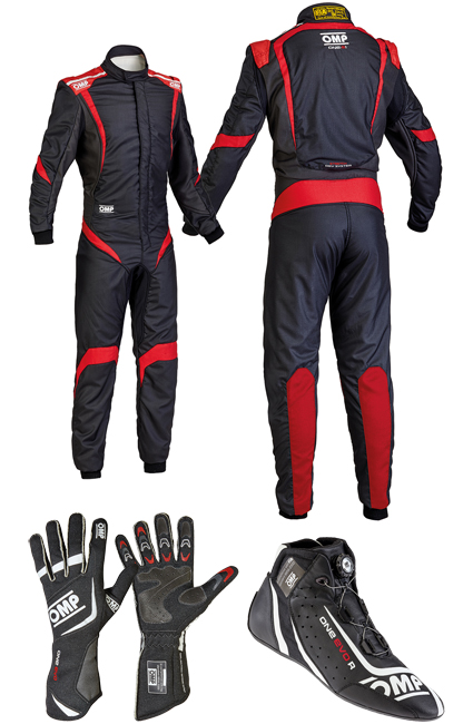 OMP One S1 Black/Red Racewear Package