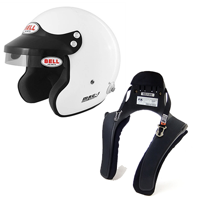 Bell Mag 1 Rally Helmet with HANS Posts & Stand 21 FHR Collar Package