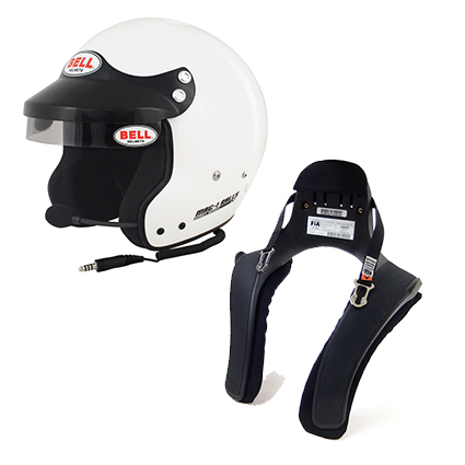 Bell Mag 1 Rally Helmet & Stand 21 FHR Collar Package