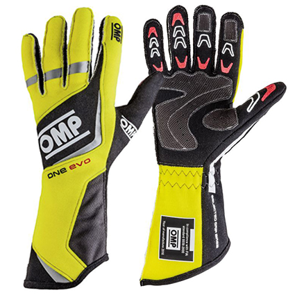 OMP One Evo Race Gloves Fluro Yellow/Black
