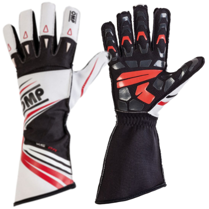 OMP KS-2R Kart Gloves White/Red/Black