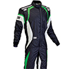 OMP One Evo Race Suit Black/White/Green