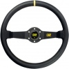 OMP Rally Steering Wheel Black Leather