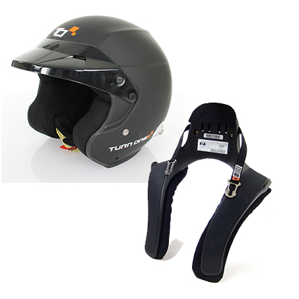 Turn One Jet-RS Matte Black Helmet & Stand 21 20° Club Series FHR Collar Package
